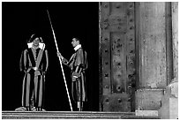 Swiss guards on sentry duty. Vatican City ( black and white)