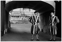 Swiss guards in blue, red, orange and yellow  Renaissance uniform. Vatican City ( black and white)
