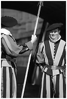 Papal Swiss guards in colorful traditional uniform. Vatican City ( black and white)