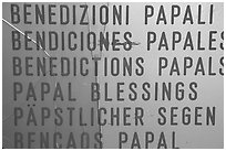 Papal Blessings sign in many languages. Vatican City ( black and white)