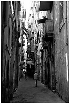 Narrow side street in Spaccanapoli. Naples, Campania, Italy (black and white)