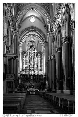 Organ inside church. Naples, Campania, Italy (black and white)