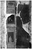 Detail on a wall of Villa Vettii. Pompeii, Campania, Italy ( black and white)