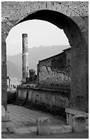 Archway and column. Pompeii, Campania, Italy ( black and white)