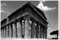 Tempio di Nettuno (Temple of Neptune), a Greek temple (5th century BC). Campania, Italy ( black and white)