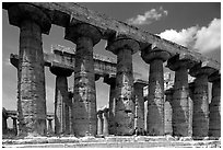 Columns of Greek Temple of Neptune. Campania, Italy (black and white)