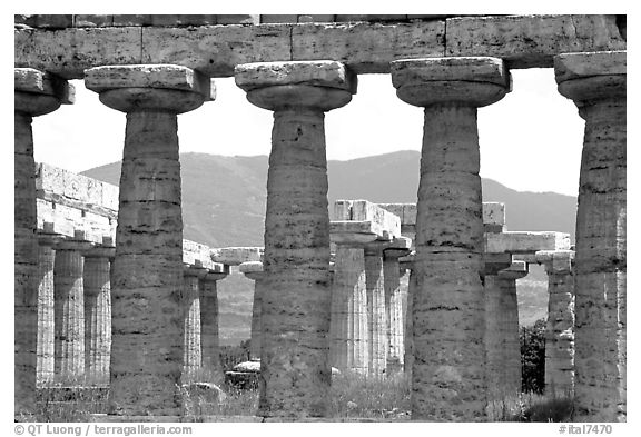 Basilica, or Temple of Hera (mid 6th century BC). Campania, Italy (black and white)