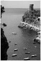Cove. Amalfi Coast, Campania, Italy (black and white)
