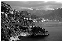 Coastline with Amalfi in the background. Amalfi Coast, Campania, Italy ( black and white)