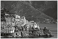 Houses built on a rocky promontory in Amalfi. Amalfi Coast, Campania, Italy ( black and white)