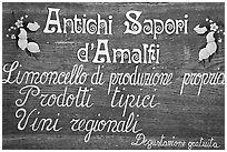 Sign advertising Lemoncelo, the local lemon-based liquor, Amalfi. Amalfi Coast, Campania, Italy (black and white)