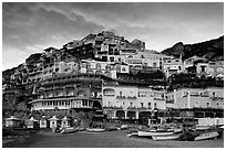 Wedding cake hill at sunset, Positano. Amalfi Coast, Campania, Italy ( black and white)