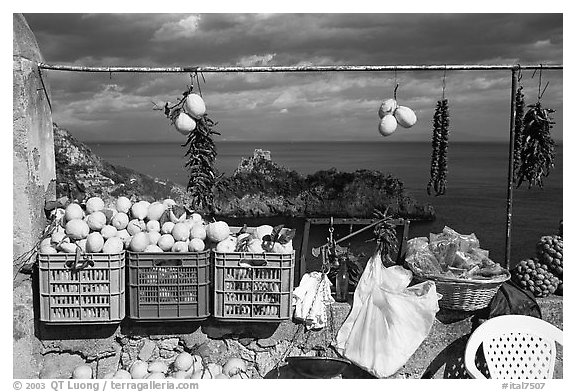Lemons for sale. Amalfi Coast, Campania, Italy (black and white)