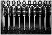 Gothic columns in Villa Rufolo, whose last resident was Richard Wagner, Ravello. Amalfi Coast, Campania, Italy ( black and white)