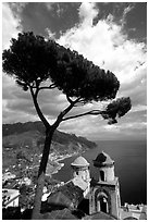 Spectacular view on the Gulf from the terraces of Villa Rufulo, Ravello. Amalfi Coast, Campania, Italy ( black and white)