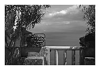 Sea seen from a terrace of Villa Rufulo, Ravello. Amalfi Coast, Campania, Italy (black and white)