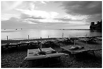 Beach chairs at sunset, Positano. Amalfi Coast, Campania, Italy (black and white)