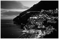 Lights on Positano. Amalfi Coast, Campania, Italy ( black and white)
