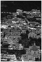 Houses on steep hill at sunset, Positano. Amalfi Coast, Campania, Italy (black and white)