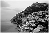 Positano at dawn. Amalfi Coast, Campania, Italy (black and white)