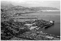 Salerno, with its industrial port in the foreground. Amalfi Coast, Campania, Italy ( black and white)