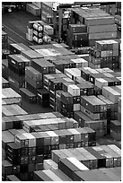 Containers in Salerno port. Amalfi Coast, Campania, Italy ( black and white)