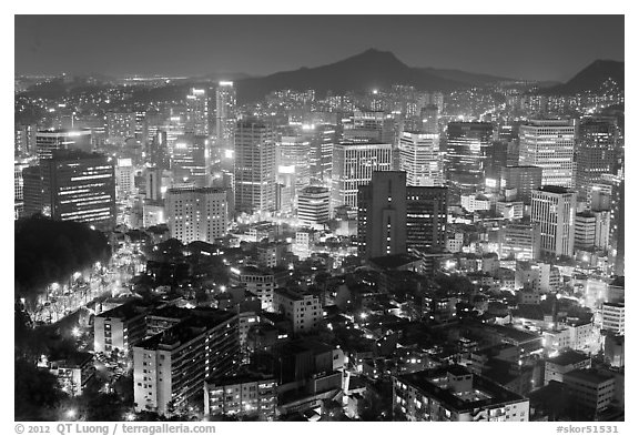 Elevated view of Jung Gu high-rises from Namsan. Seoul, South Korea (black and white)