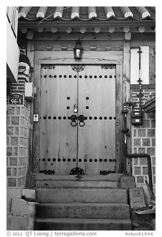 Wooden door, Bukchon Hanok Village. Seoul, South Korea (black and white)