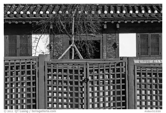 Traditional house facade and fence. Seoul, South Korea (black and white)