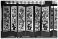 Folding screen, Jaegung, Jongmyo. Seoul, South Korea (black and white)