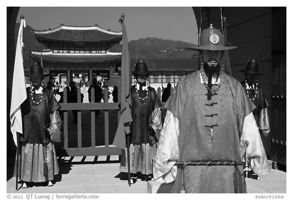 Guards in Joseon-period costumes, Gyeongbokgung. Seoul, South Korea (black and white)