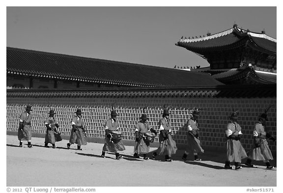 Military band marching, Gyeongbokgung palace. Seoul, South Korea (black and white)