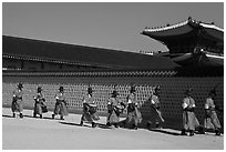 Military band marching, Gyeongbokgung palace. Seoul, South Korea ( black and white)