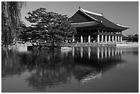 Gyeongghoe-ru pavilion and pond. Seoul, South Korea ( black and white)