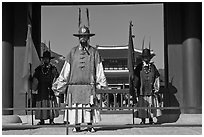 Royal guards, Heugnyemun gate, Gyeongbokgung. Seoul, South Korea ( black and white)