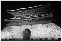 Janganmun gate at night, Suwon Hwaseong Fortress. South Korea (black and white)