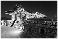 Seoporu (western sentry post) at night, Suwon Hwaseong Fortress. South Korea (black and white)
