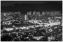 Elevated view of city at night, Suwon. South Korea ( black and white)