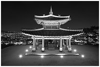 Seojangdae (western command post) and city lights, Suwon. South Korea ( black and white)