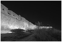 Suwon Hwaseong Fortress wall at night. South Korea (black and white)