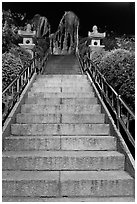 Stairs leading to sacred rocks, Seon-bawi. Seoul, South Korea (black and white)