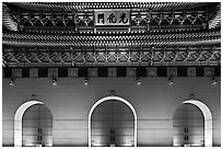 Facade of Gyeongbokgung gate at night. Seoul, South Korea ( black and white)