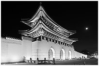 Gyeongbokgung gate and moon. Seoul, South Korea ( black and white)