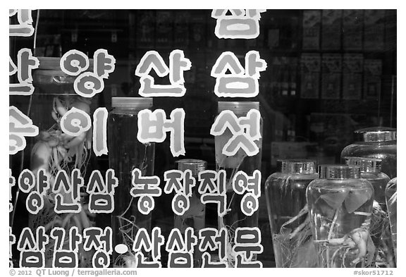 Korean script and traditional medicine jars. Daegu, South Korea (black and white)