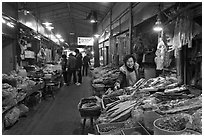 Traditional medicine ingredients, Yangnyeongsi market,. Daegu, South Korea (black and white)