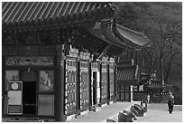 Haeinsa, temple of Jogye Order of Korean Buddhism. South Korea ( black and white)