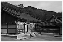 Haeinsa, Buddhist temple of Jogye Order in the Gaya Mountains. South Korea ( black and white)