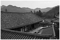 Rooftops, Haeinsa Temple. South Korea ( black and white)