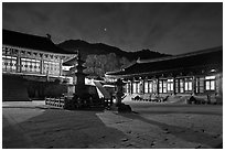 Haeinsa Temple at night. South Korea ( black and white)