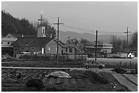 Cultivation and church on outskirts of Andong. South Korea ( black and white)